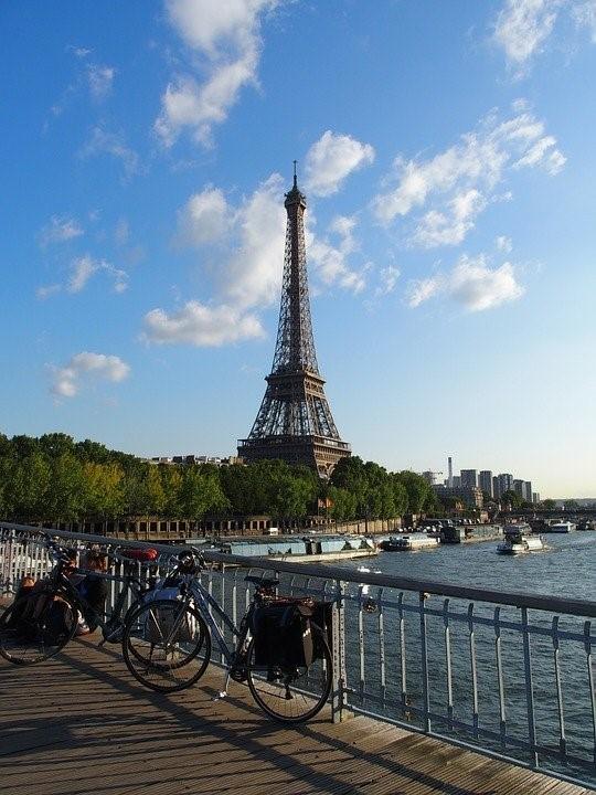 Paris, Torre Eiffel, Bicicleta, Sol, Ponte