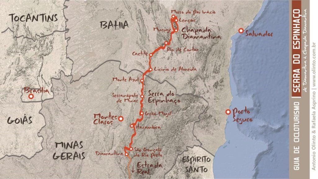 Mapa dos trajetos do Guia de Cicloturismo Serra do Espinhaço, com a volta na Chapada Diamantina
